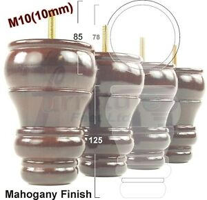 4x-WOODEN-FURNITURE-FEET-REPLACEMENT-LEGS-FOR-SOFA-CHAIR-125mm-HEIGHT-M10-10mm