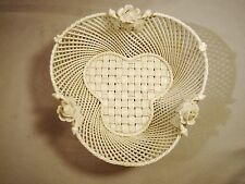 Irish Belleek Porcelain Shamrock Shape Hand Woven Four Sttrand Basket c1921-1954