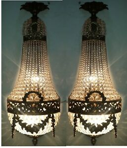 Pair-Rustic-Antique-Replica-Crystal-Chains-Bronze-French-Empire-Wall-Sconces