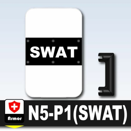 W206 SWAT Shield N5 Riot compatible w// toy brick minifigures Police Riot Shield