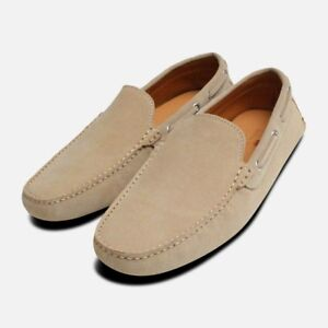2b143dbcca4 Image is loading Beige-Suede-Italian-Driving-Shoes-by-Arthur-Knight