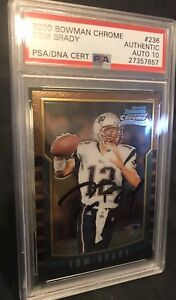 Details About 2000 Bowman Chrome Tom Brady Rookie Card Patriots 236 Psa 10 Autographed