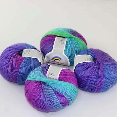 4Ball x50g  Multi-Color Cashmere Silk Wool Hand knitwear knitting Baby Yarn 08