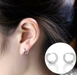 95f2cd11a9492 Details about Punk Style Womens Silver Small Round Hoop Huggie Sleeper Stud  Earrings Jewellery
