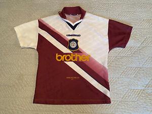 Manchester CITY FOOTBALL SHIRT UMBRO FRATELLO 1996/97 Away Taglia per ragazzi ORIGINALE