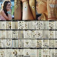 Temporary Metallic Tattoos Silver Gold Black Flash Inspired Body Art Tribal BOHO
