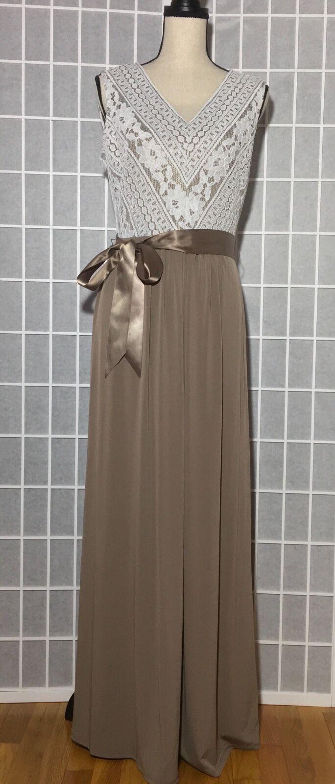 WARDROBE A damen's Sleeveless Lace Top Maxi Long Belted Dress Beige Größe 8
