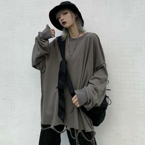 Men Women Oversized T Shirt Loose Distressed Raglan Sleeve Tops Gothic Punk