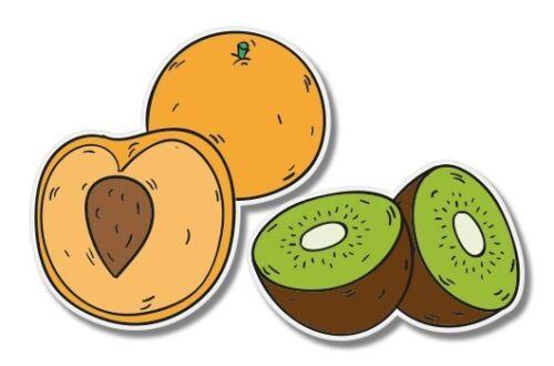 Fruits Kiwi Peach Cute Set Car Laptop Phone Vinyl Sticker SELECT SIZE