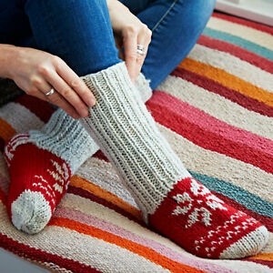 Hand-Knitted-Nordic-Woollen-Lounge-Bed-Winter-Socks-4-Colours-100-Wool