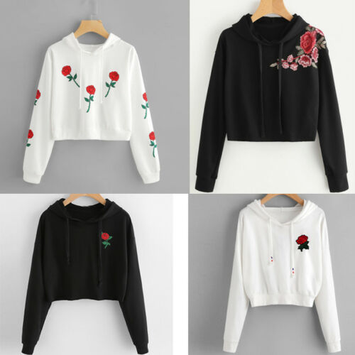 Fashion Women Girl Long Sleeve Hoodie Sweatshirt Pullover Crop Tops Blouse Shirt