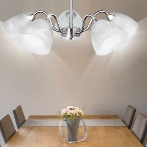 LED Decken Hänge Lampe Arbeits Zimmer Beleuchtung Chrom Pendel Lüster Leuchte