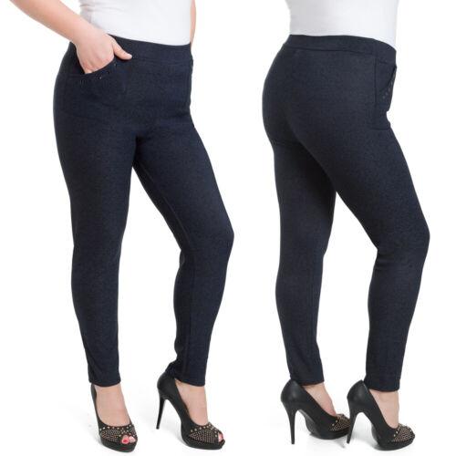 Womens Plus Size Navy Pants Elegant Trouers Straight Leg Pockets 2XL-6XL W18-016