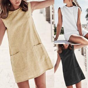 New-Lady-Casual-Cotton-Linen-O-Neck-Sans-manches-d-039-ete-Couleur-Unie-Poches-Robe