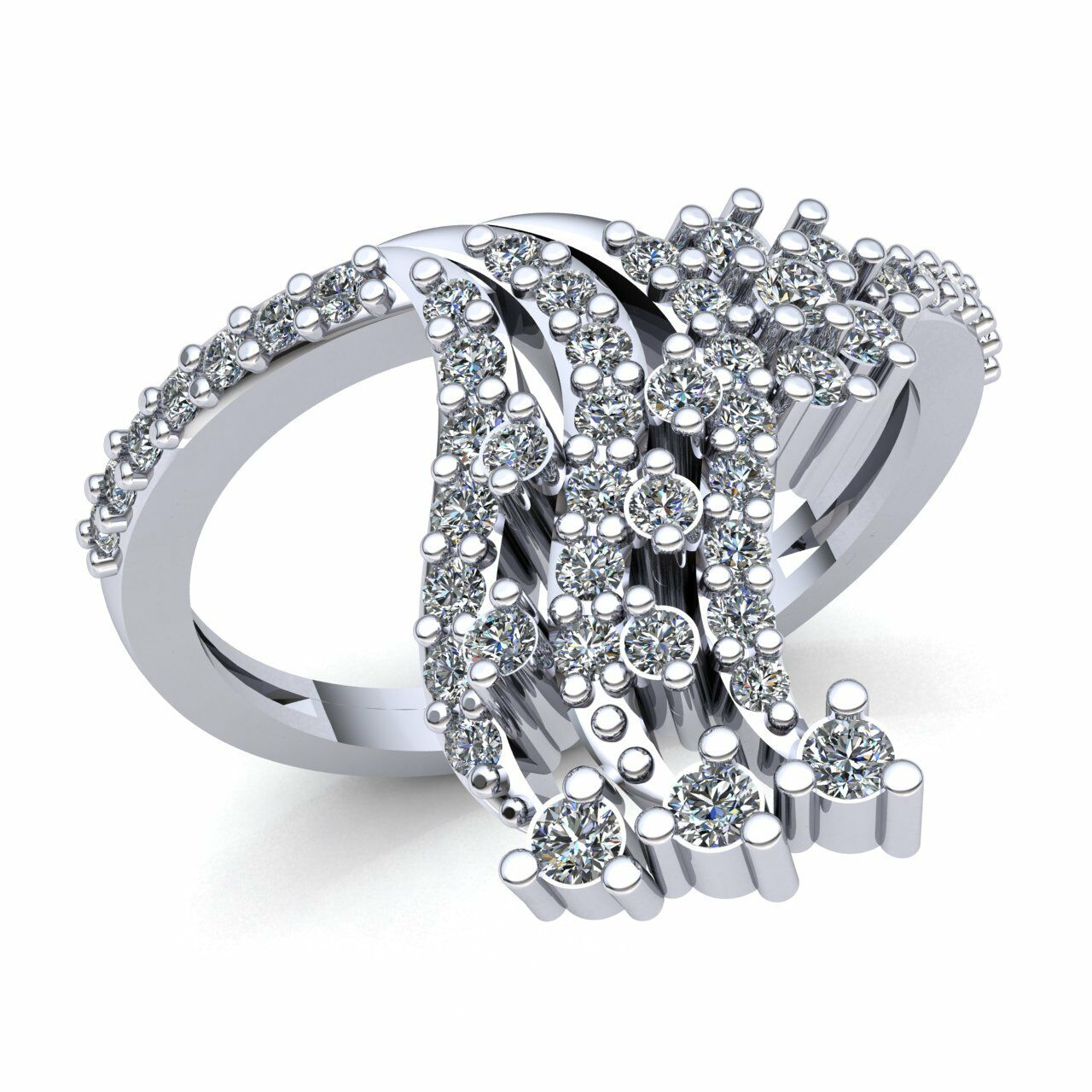 Natural 1ct Round Cut Diamond Ladies 3Row Accent Flower Engagement Ring 10K gold