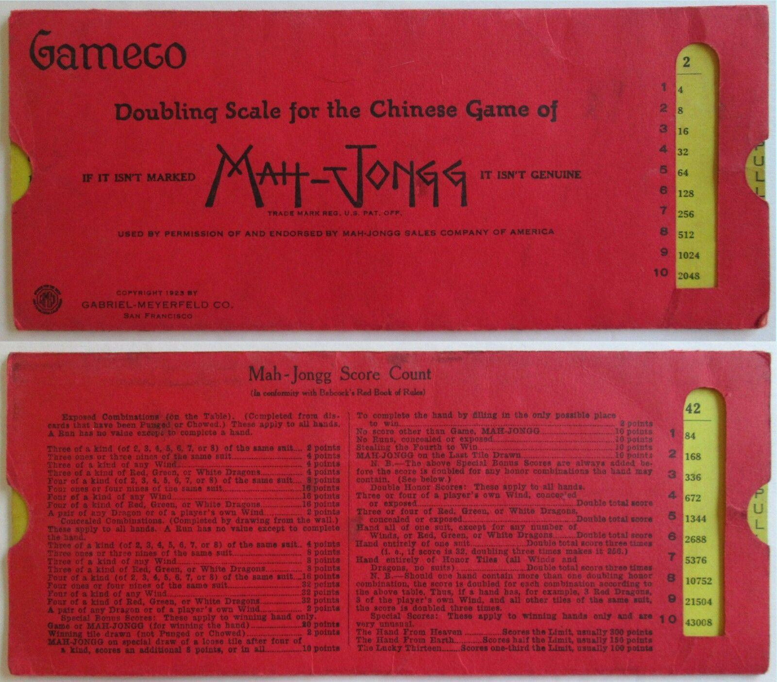 Vtg 1923 Mahjong Doubling Scale Gabriel-Meyerfeld Co, Mah Jongg Sales of America