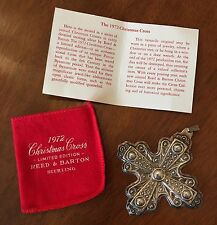 REED & BARTON STERLING SILVER CROSS CHRISTMAS ORNAMENT 1972