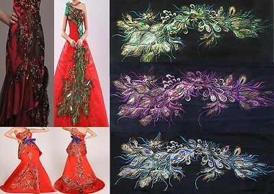 Embroidered Purple/Blue/Green Sequins Peacock Feather Sew Appliques 60cmX120cm