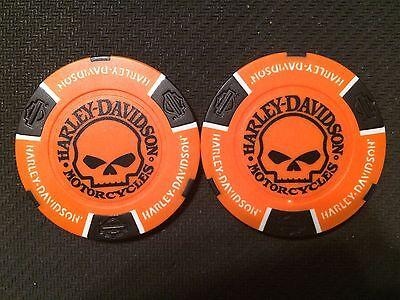 Harley Davidson Poker Chip Skull Willie G Orange