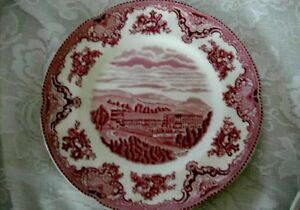 Collectible-Staffordshire-Red-Pink-Castle-Scenic-Plate-Made-in-England