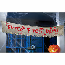 Halloween Creepy Carnival Party Enter If You Dare Blood Fabric Banner Decoration