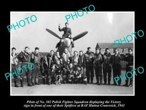 OLD-POSTCARD-SIZE-PHOTO-POLAND-MILITARY-POLISH-FIGHTER-SQUADRON-RAF-HUTTON-1943
