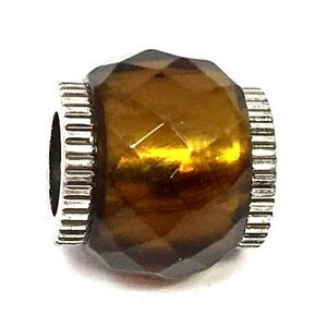 Authentic-Brighton-Faceted-Glass-Bead-J9242M-Silver-Brown-Plated-New