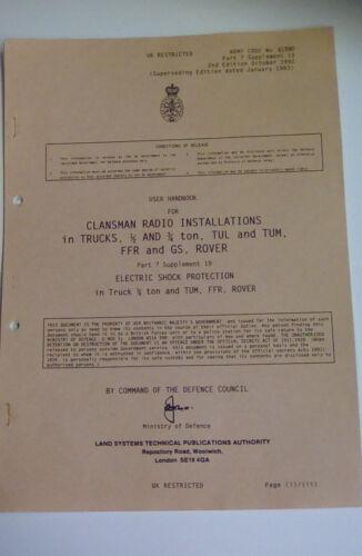 USER HANDBOOK CLANSMAN INSTALLATION ELECTRIC SHOCK PROTECTION.