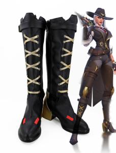 Appris Jeu Overwatch Ow Ashe Cosplay Chaussures Bottes Longues Custom Made Dentelle Décoration-afficher Le Titre D'origine ModèLes à La Mode