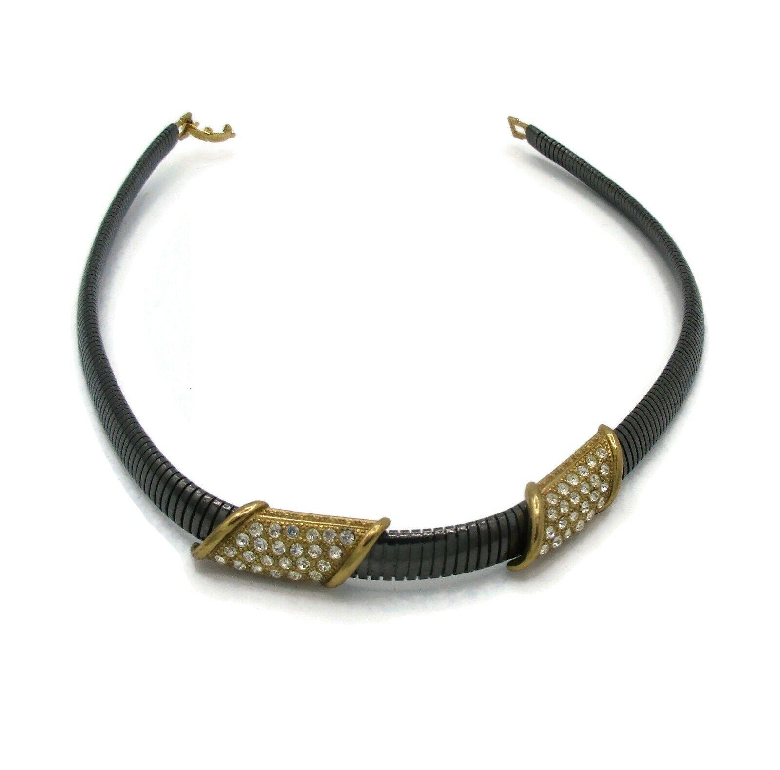 Vintage LANVIN Gun Metal Rhinestone Necklace Earr… - image 1