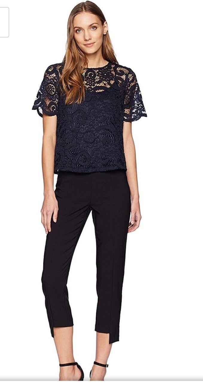 Nanette Lepore navy lace blouse, Size XS NWOT