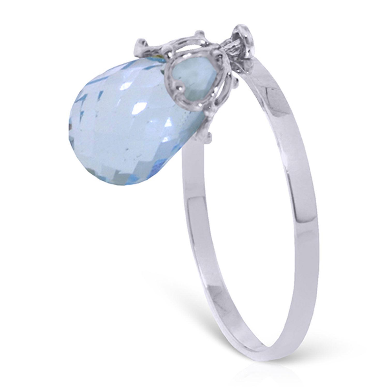 Brand New 3 Carat 14K Solid White gold Ring Dangling Briolette bluee Topaz