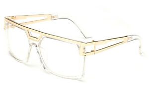 Clear-frame-Clear-Lens-Square-Retro-Sun-Glasses-Gold-Metal-Accents-DMC-Square