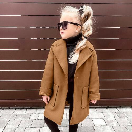 Toddler Baby Girls Long Sleeve Winter Warm Solid Windproof Coat Outwear Jacket