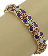 ESTATE 18K YELLOW GOLD OPAL PINK SAPPHIRE AND ENAMEL LINK BRACELET