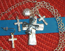 HAMMERED CROSS NECKLACE & EARRING SET~2 PCS~SILVER~COIN PEARL~DESIGNER INSPIRED