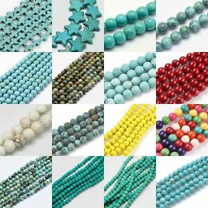 Turquoise-Bead-Round-Gemstone-Heishi-Bead-Spacer-Loose-Jewelry-4mm-6mm-8mm-10mm