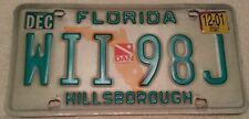 Late 1990s Florida license plate -Hillsborough County - WII 98J -Original Owner