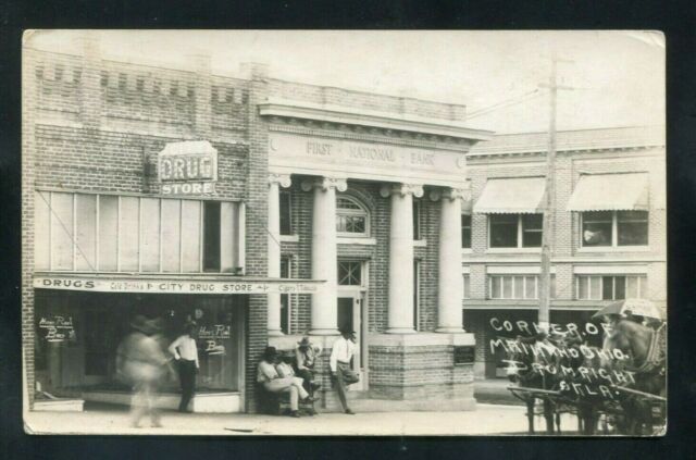 RPPC Drug Store BANK Drumright OKLAHOMA real photo postcard Creek Payne County