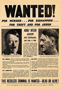 Wanted! Hitler for Murder.. Blechschild Schild gewölbt Tin Sign 20 x 30 cm F0305