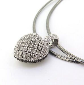 Stunning-Black-amp-White-Diamond-Encrusted-Pave-Set-Sterling-Silver-Heart-Pendant
