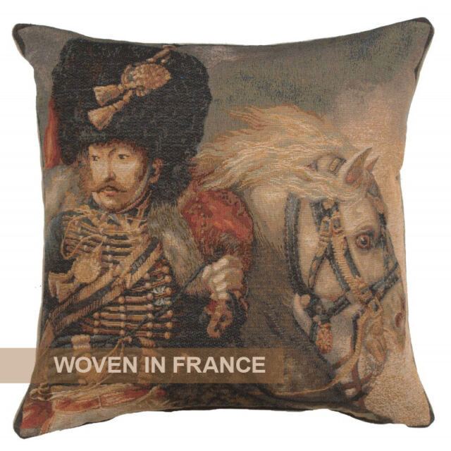 French Tapestry Throw Pillow Cover Woven The Charging Chasseur Napoleon Officer