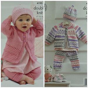 Details about KNITTING PATTERN Baby Easy Knit Eyelet Pattern Cardigan  Leggings & Hat DK 4195