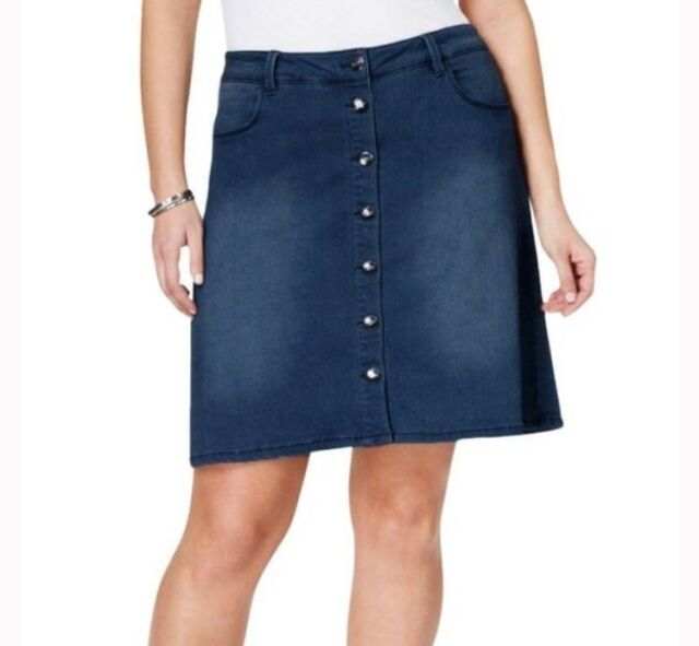 61015ed19 Nanette Lepore 22W Nippon Skirt Dark Wash Denim Button Down A Line NWT $69  Blue