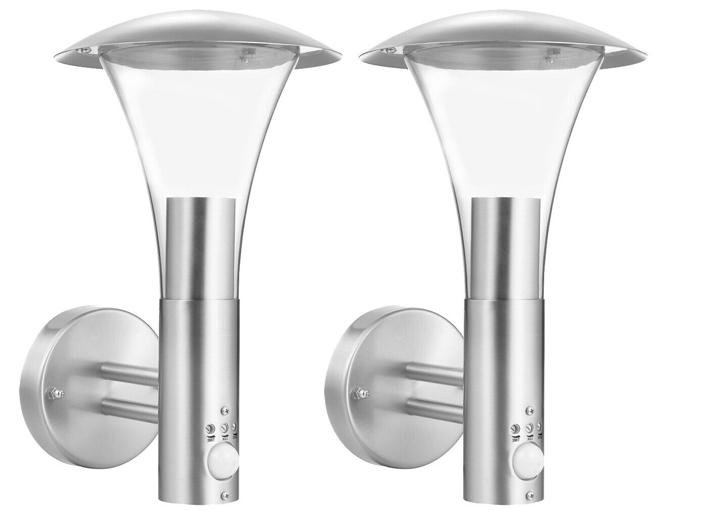 2x lámpara exterior de acero inoxidable con detector de movimiento, iluminación de jardín lámpara de parojo exterior