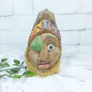 Vintage-Green-Eyepatch-TRINIDAD-Hand-Carved-Coconut-Folk-Art-Head-6-034-GOOD