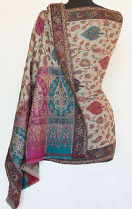 Wool-Shawl-Genuine-Hand-Cut-Kani-Paisley-Jamavar-Jamawar-Pashmina-Chinar-Floral