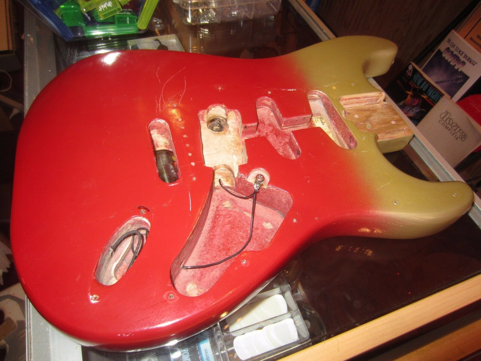 Vintage Circa 1980's Fender Stratrocaster Electric Guitar Body rot and Gold Nice