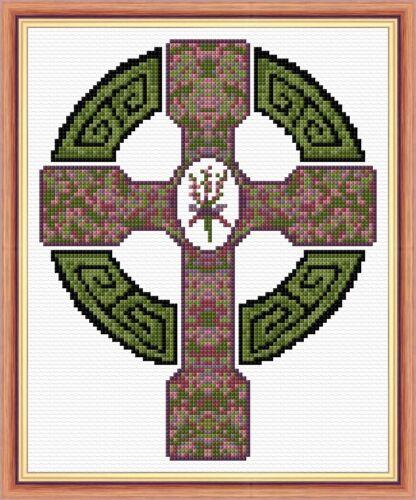 "HEATHER 14 Count Aida Scottish Mini Cross Stitch Kit 6.5/"" x 8/"" Celtic Cross"