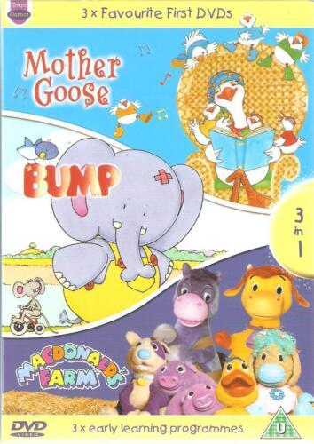 1 of 1 - 3 x FAVOURITE FIRST DVDS - MOTHER GOOSE * BUMP * MACDONALDS FARM 3 DVD SET kids